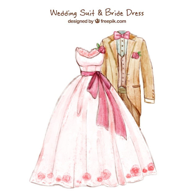 Traje de novio y vestido de novia para boda   Descargar Vectores gratis