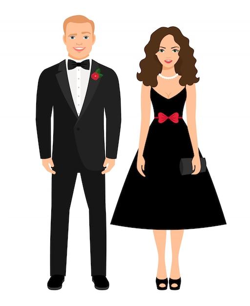 Traje de noche para ocasión especial. bonita pareja en vestido negro y esmoquin. ilustración vectorial Vector Premium
