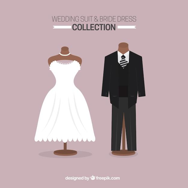 traje de novio sofisticado y vestido de novia | descargar vectores