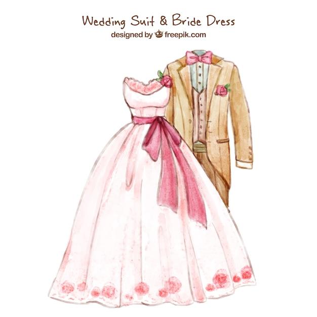 traje de novio y vestido de novia para boda | descargar vectores gratis