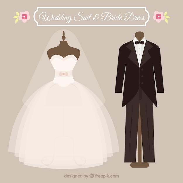 Traje y vestido de boda   Descargar Vectores gratis