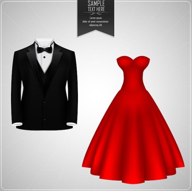 Trajes De Novio Negro Y Vestido De Novia Rojo Vector Premium