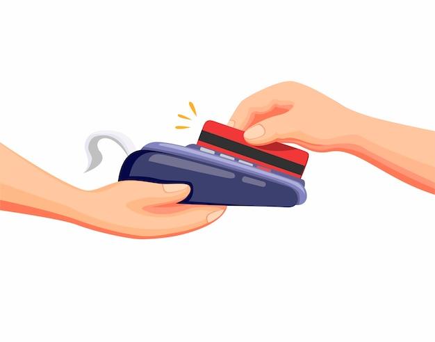 Transacción con tarjeta de crédito o débito al pago en drive thru o market shop en vector de ilustración de dibujos animados en blanco Vector Premium