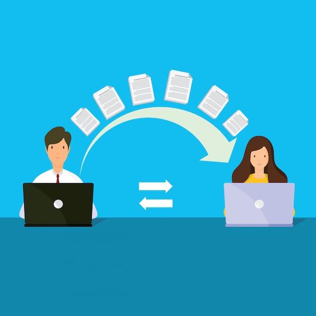 Transferencia de archivos. dos carpetas en pantalla y documentos transferidos. Vector Premium
