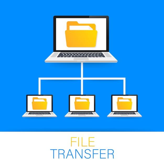 Transferencia de archivos. portátiles con carpetas en pantalla y documentos transferidos. Vector Premium