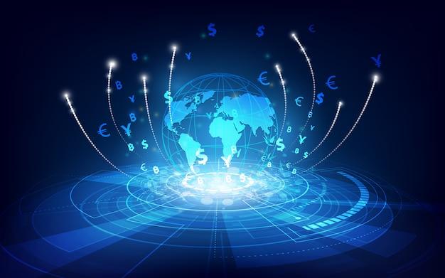 Transferencia de dinero. moneda global bolsa. ilustración de stock Vector Premium