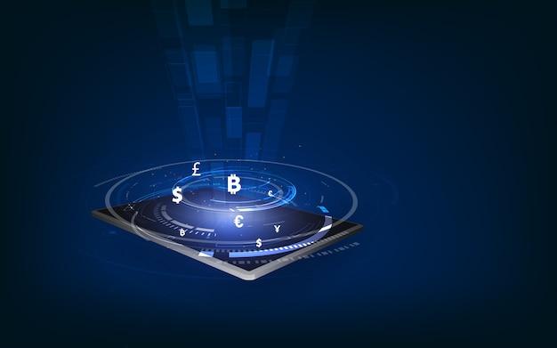 Transferencia de moneda internacional, pago a través de un teléfono inteligente utilizando un teléfono inteligente del concepto de dinero Vector Premium