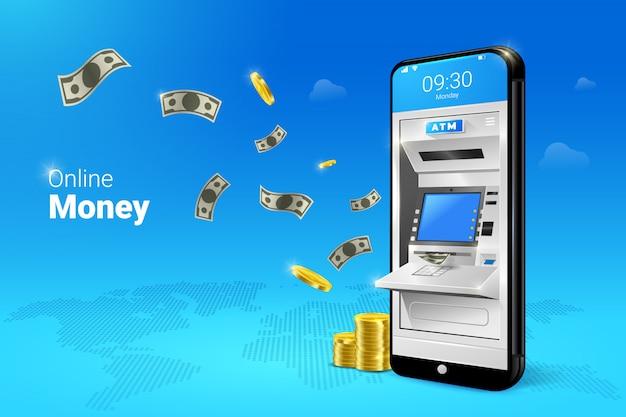 Transferencia o retiro de dinero en cajeros automáticos con ilustración de dinero que cae. Vector Premium