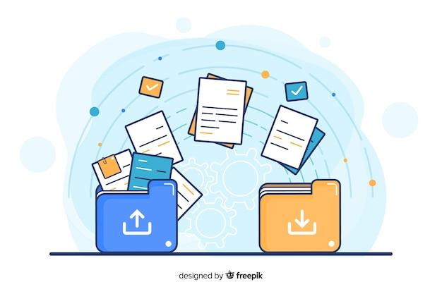 Transfiera el concepto de archivos para la página de destino vector gratuito