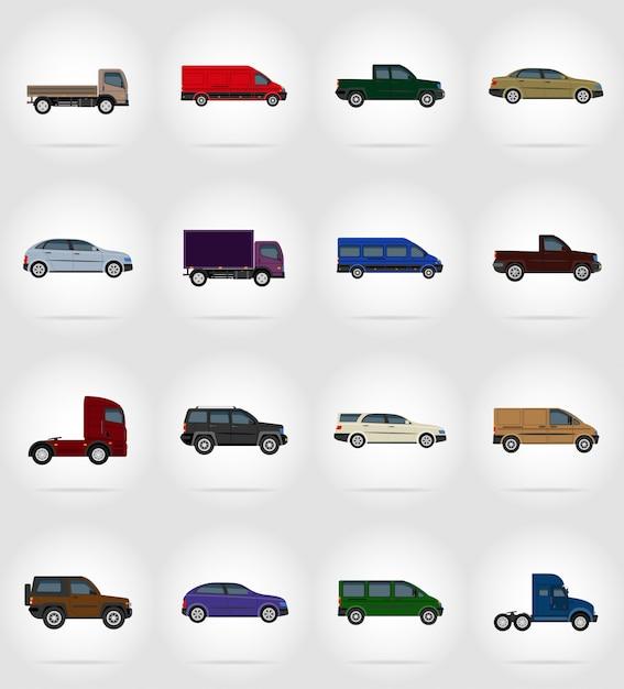 Transportar vehículos planos ilustración vectorial Vector Premium