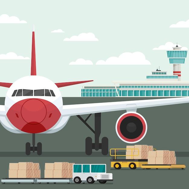 Transporte de avión de carga y carga en el aeropuerto. concepto vector illustration Vector Premium