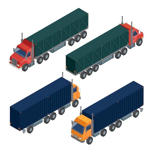 Transporte de carga camión de remolque. camión de reparto. transporte logistico Vector Premium