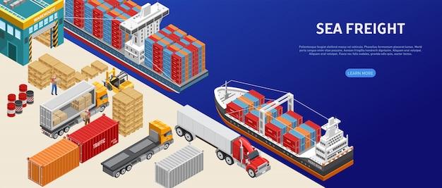 Transporte de carga en puerto de carga Vector Premium