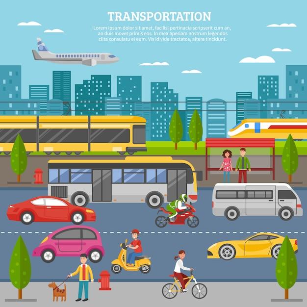 Transporte en cartel de la ciudad vector gratuito