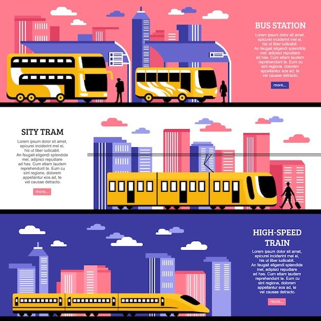 Transporte de la ciudad banners horizontales vector gratuito