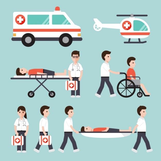 Transporte de enfermos en un hospital Vector Gratis