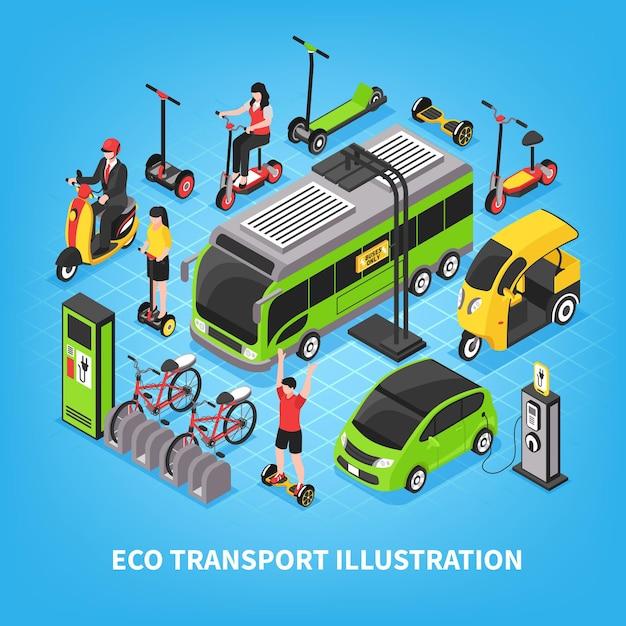 Transporte ecológico isométrico con autobuses urbanos, coches eléctricos, estacionamiento de bicicletas, personas que viajan en gyro y scooter vector gratuito