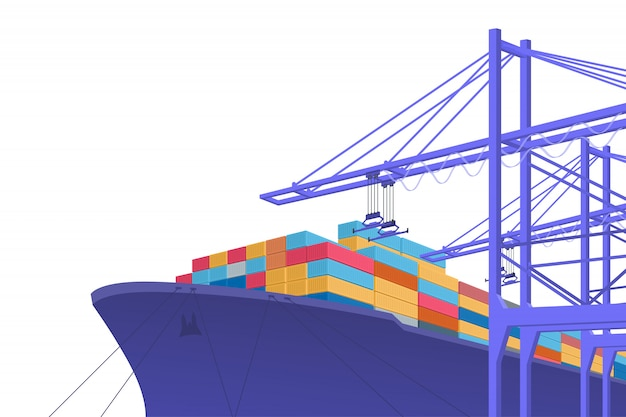 Transporte de envío. el comercio internacional. diseño gráfico con copia espacio. ilustración Vector Premium