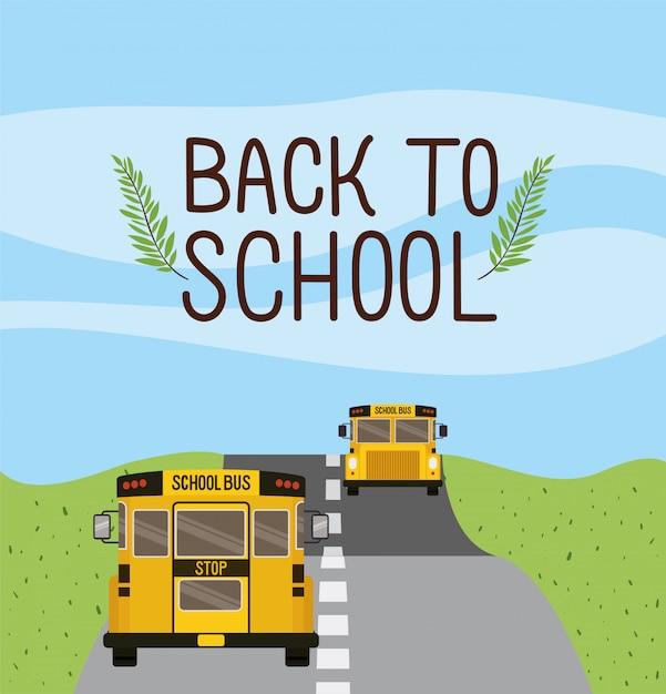 Transporte escolar en autobús por la carretera. vector gratuito