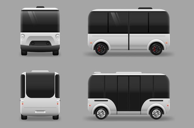 Transporte futuro eléctrico sin conductor. máquina autónoma de conducción autónoma de vehículos. Vector Premium