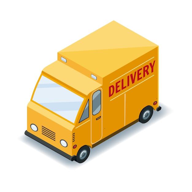 Transporte isométrico de camiones de carga rápida, entrega de concepto de mercancías, logística, entrega rápida Vector Premium