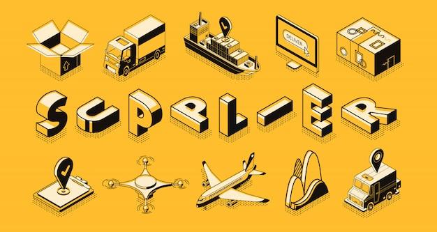 Transporte logístico, proveedor, exportación de bienes comerciales, importación. vector gratuito
