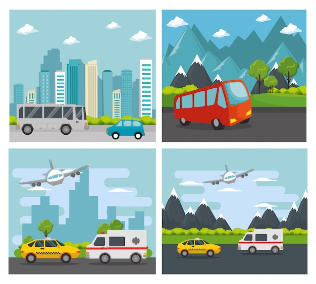 Transporte logístico set vehículos vector gratuito