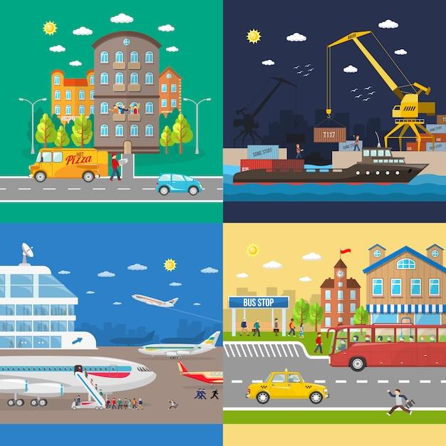 Transporte de pasajeros y entrega de mercancías. vector gratuito