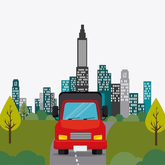 Transporte, tráfico y diseño de vehículos. vector gratuito