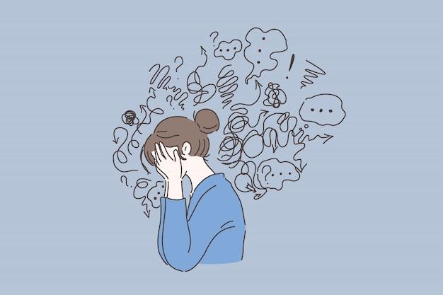 Trastorno mental, búsqueda de respuestas, concepto de confusión. Vector Premium