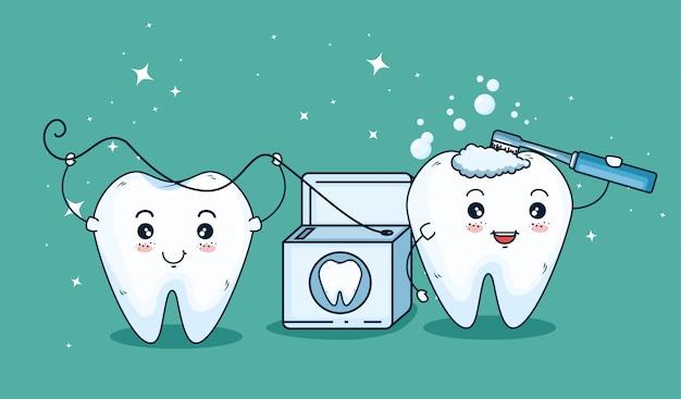 Tratamiento para el cuidado de los dientes con cepillo de dientes y hilo dental. vector gratuito