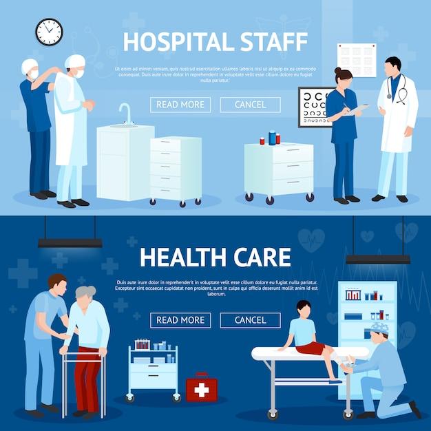 Tratamiento médico banners horizontales vector gratuito