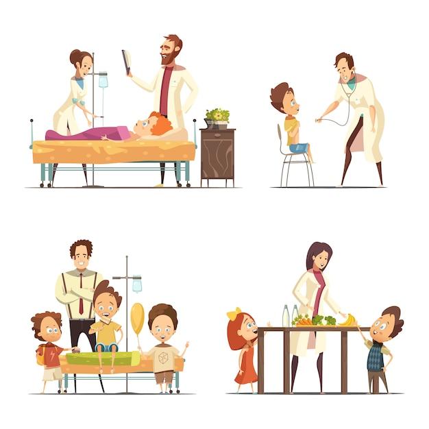 Tratamiento de niños enfermos en el hospital 4 iconos de dibujos animados retro con doctores enfermera y padres aislados ve vector gratuito