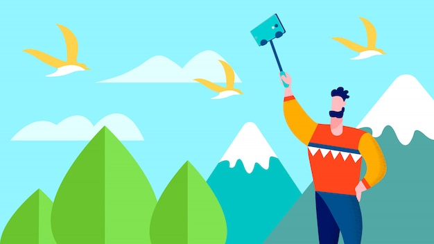 Travel selfie on mountains traveller blog Vector Premium