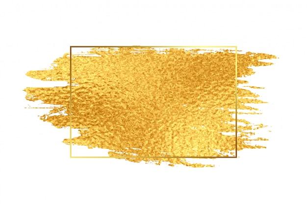 Trazo de pincel dorado con marco de textura de aluminio vector gratuito