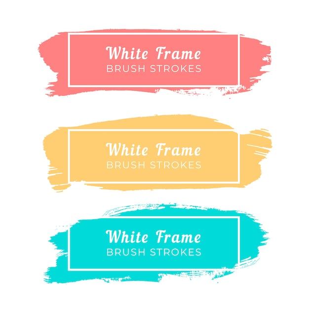 Trazos de pincel de marco blanco vector gratuito