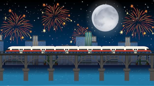 Tren cruzar el río con escena de fuegos artificiales de celebración vector gratuito