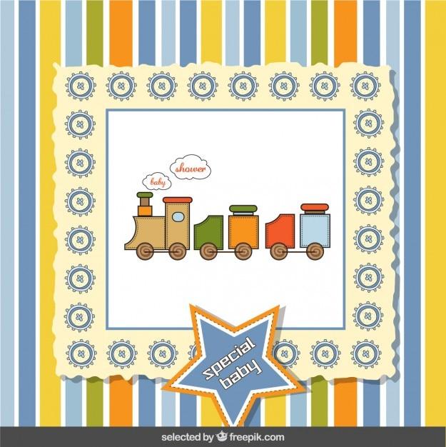 Tren del juguete tarjeta de bienvenida del bebé | Descargar Vectores ...