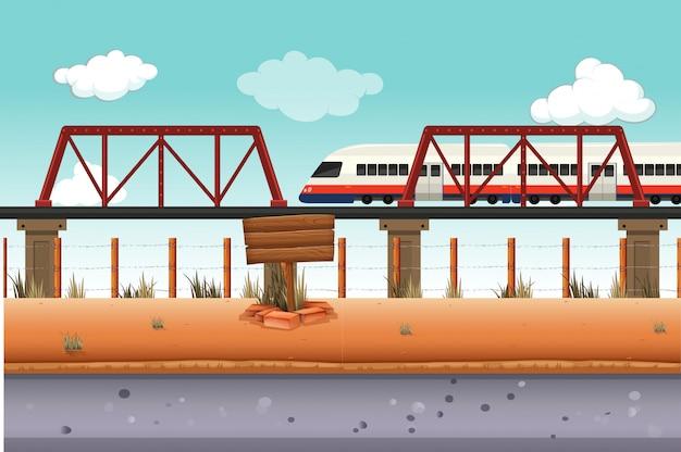 Tren a zona rural. vector gratuito