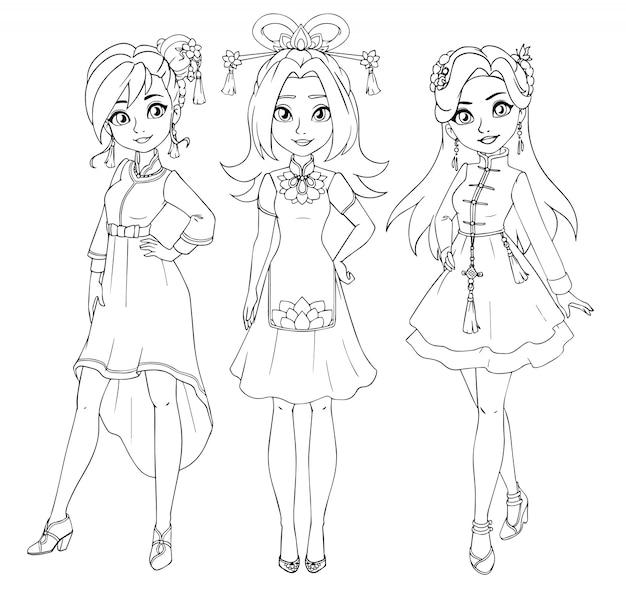 Tres adolescentes con traje tradicional chino. Vector Premium