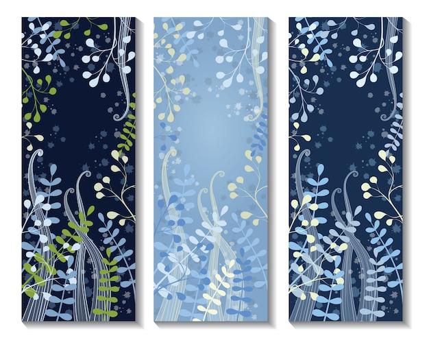 Tres banderas florales verticales. tarjeta de invitación con decoración floral. ramas de hojas doradas sobre un fondo azul oscuro. Vector Premium