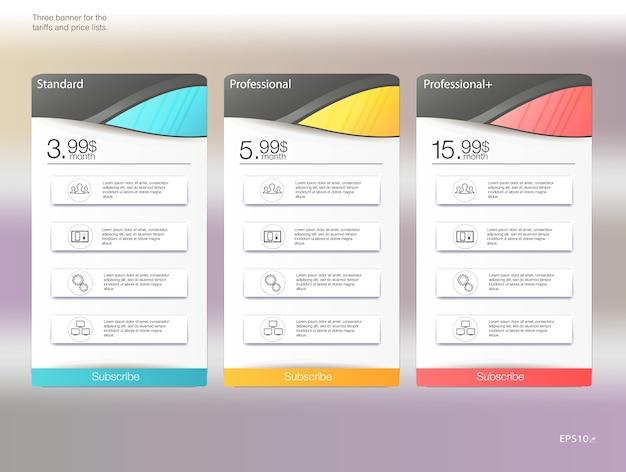 Tres banderas de tarifas. tabla de precios web. para la aplicación web. lista de precios. Vector Premium