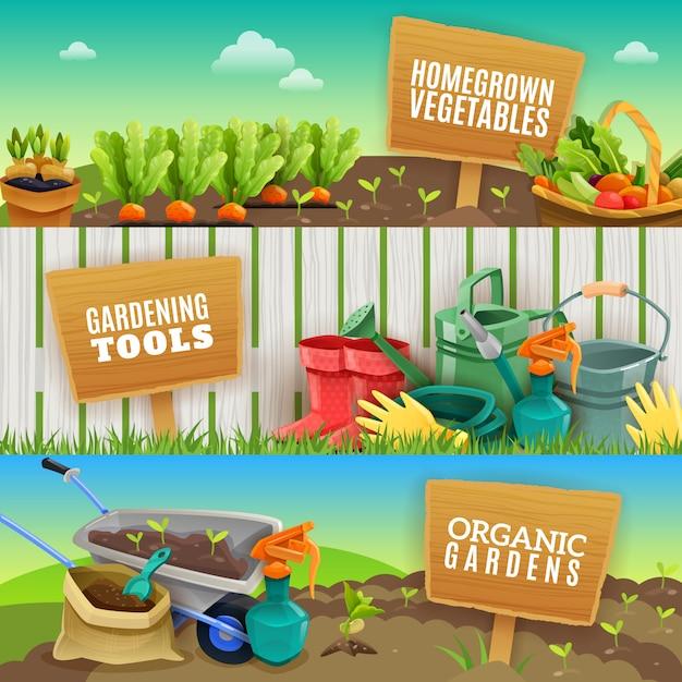 Tres banners horizontales de jardinería vector gratuito