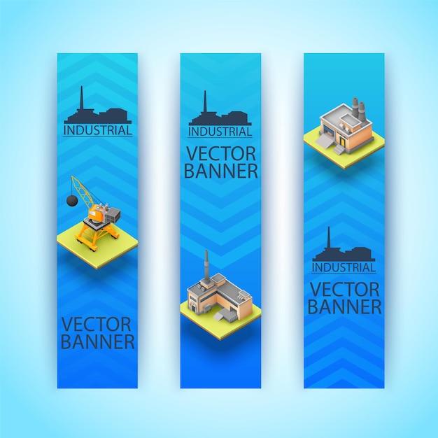 Tres banners industriales isométricos y verticales aislados con grandes titulares ob fondo azul vector gratuito