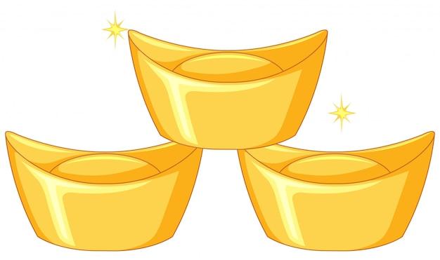Tres barras de oro chino. vector gratuito