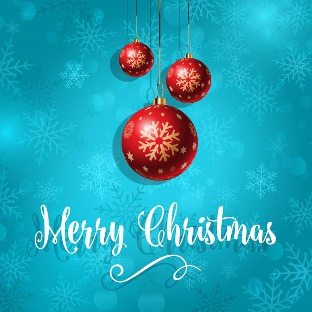 Tres bolas rojas para navidad sobre un fondo azul - Bolas de navidad rojas ...