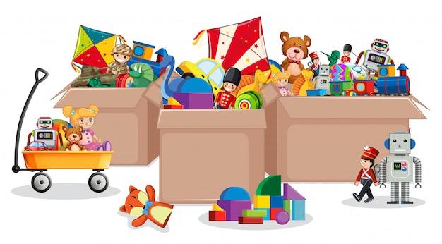 Tres cajas llenas de juguetes. vector gratuito