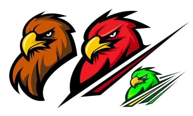 Tres Para Colorear águila Mascota Logotipo Ilustración