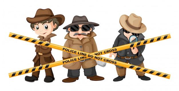 Tres detectives en busca de pistas. vector gratuito