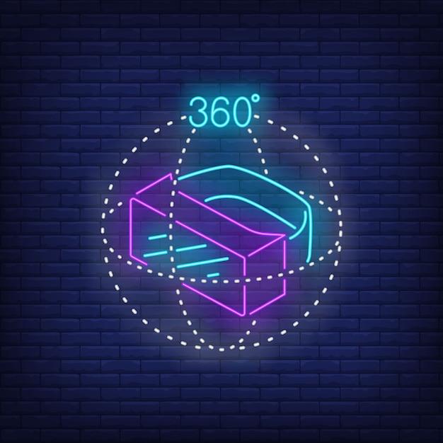 Tres dimensiones de realidad virtual auricular letrero de neón. vector gratuito